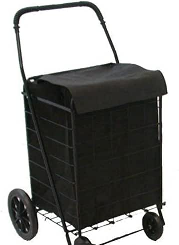 Lunarland Folding Shopping Cart Basket Rubber wheels Laundry Grocery Travel Free Blk Liner