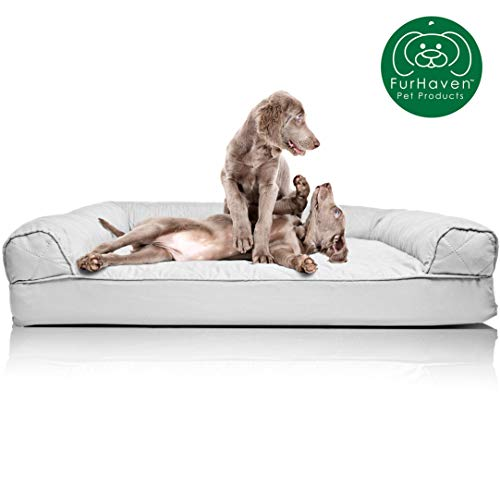 Furhaven Pet Dog Bed | Orthopedic Quilted Traditional Sofa-Style Living Room Couch Pet Bed w/ Removable Cover for Dogs & Cats, Silver Gray, Jumbo from Furhaven