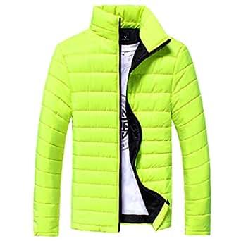Sliwei Cuello Alto y Ligero de Invierno para Hombre Cuello Alto con Cremallera Chaqueta de algodón Abrigo Outwear
