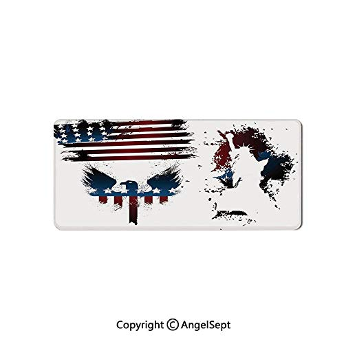 Large Mouse Pad with Nonslip Base, Thick, Comfy,Mat for Desktop, Laptop, Keyboard-American Flag Decor,Set with Bald Eagle Symbol and Stripes Stars Statu,16