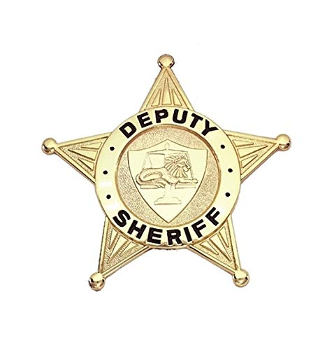 Replica Uniform Costume Theater Badge Metal Deputy Sheriff Gold Plated 5-Point Star