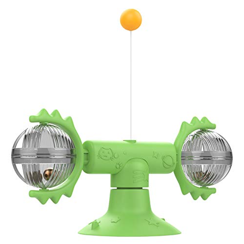 VavoPaw Rotating Windmill Toy & Balls/Teasing feathers, Turntable Tickle Teasing Interactive Cat Toy with Suction Cup…
