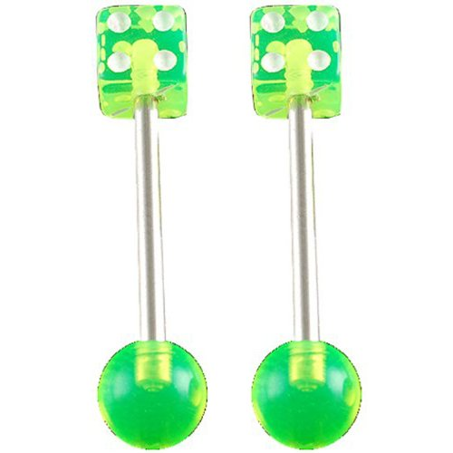 bodyjewellery 14g Gauge 5/8 Inch 16mm Surgical Steel Tongue bar Nipple Barbell Straight 5mm dice 6mm Ball Acrylic Green Piercing 2Pcs ADNQ