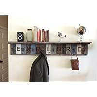 Personalized Reclaimed Wood Coat Rack Barn Wood hooks w/ 4' Deep Shelf