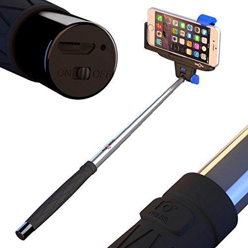selfie stick for iphone android stickitpro with built in bluetooth and remote shutter for. Black Bedroom Furniture Sets. Home Design Ideas