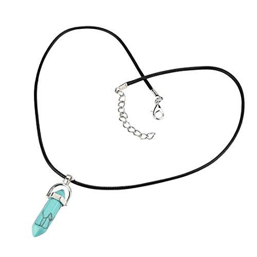 Gemstone Choker Set (2018 Hot! Stone Pendant Necklace,Leewos Natural Gemstones Hexagonal Pointed Necklaces Beads Jewelry Gift Set (Light blue))
