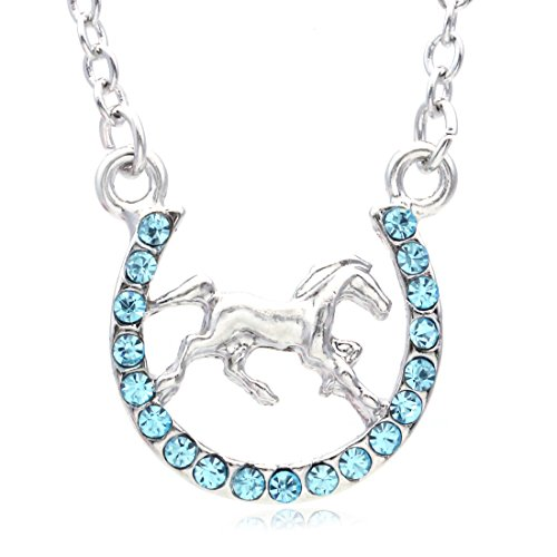 Horse Mustang Pony Horseshoe Necklace Pendant Lucky Charm Western Cowboy Cowgirl (Aqua Blue) (Girls Horseshoe)