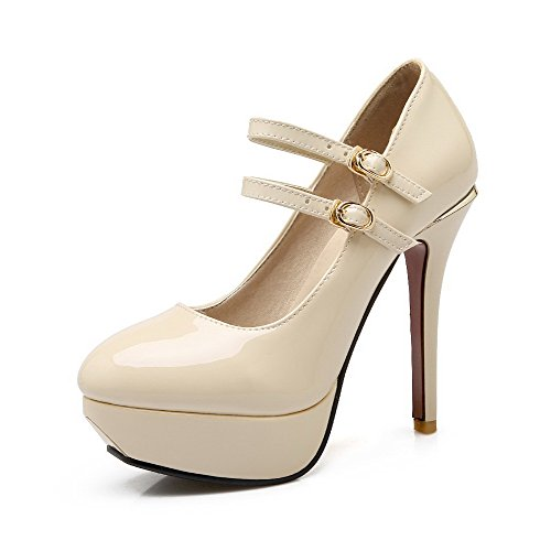 VogueZone009 Women's High-Heels Solid Buckle PU Round Closed Toe Pumps-Shoes Beige sNutY