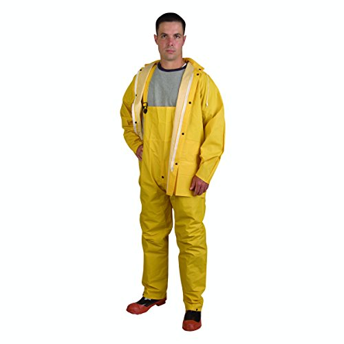 - Cordova Safety Products CRS353Y4XL StormFront 3 Piece Rain Suit with Detachable Hood, Yellow, 4X Large