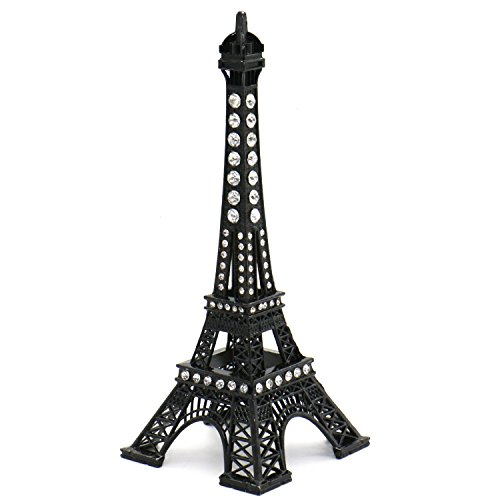 Rugjut Black Eiffel Tower Paris France Metal Stand Model for Home Decor, Cake Topper, Gifts,Party, Jewelry Stand Holder