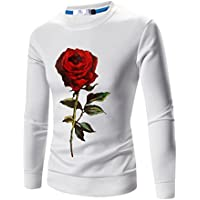 Men T-shirt, ღ Ninasill ღ Autumn&Winter Printed Pullover Sweatshirt Top Tee Outwear Blouse (XXL, White)