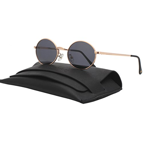 VIVIENFANG Vintage Tinted Lens Small Oval Polarized Sunglasses Metal Avaitor Shades For Unisex 87156A Smoke - Oval Sunglasses Men For