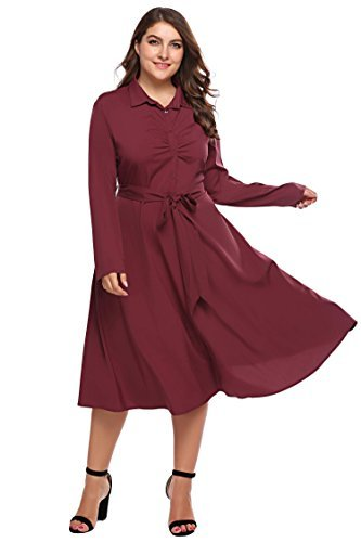 Involand Womens Vintage 1950s Long Sleeve Button Belted Dress A-Line Flared Cocktail Swing Dress