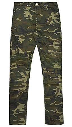 X RAY Boys Moto Biker Jeans Skinny Fit Flex Stretch Washed Denim Distressed Kids Jean Pants - Green - 10