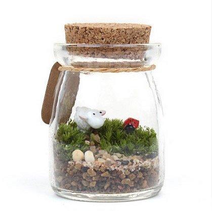 Sr. Jardín moda Pudding botella de vidrio corcho, H2.8