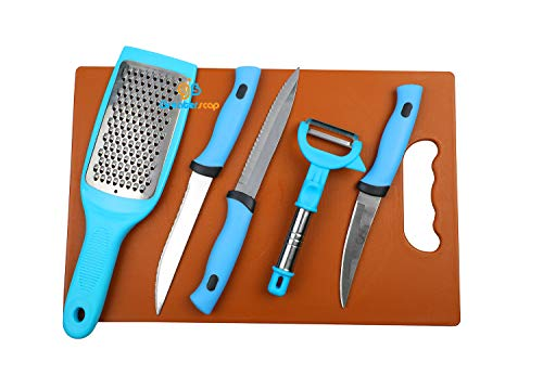 gs GREATERSCAP Stainless Steel Kitchen Blue 3-Pieces Knife Set 1 Peeler and 1 Greater with Chopping Board-6 Piece. Price & Reviews