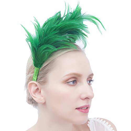 Felizhouse 1920s Fascinator with Feathers Headband for Women Kentucky Derby Wedding Tea Party Headwear (Green St Patricks Day)