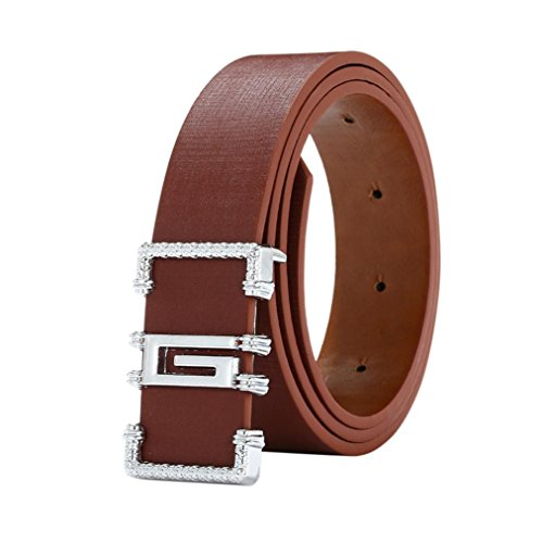 Start_wuvi Unisex Skinny Lmitation Leather Belt Solid Color Pin Buckle Simple Belts (coffee)