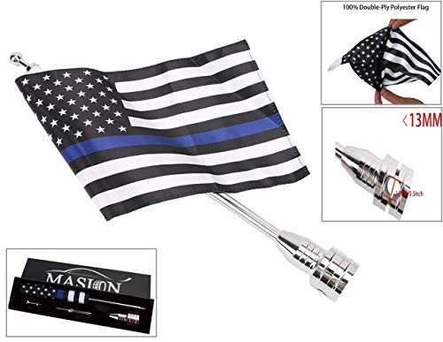 (E-Most Adjustable 6'' x 9''Foot Thin Blue Line USA Flag + Flag Pole Mount for Motorcycle Luggage Rack with 0.472~0.512 inch Diameter, Rear Fender Nut Mounting Hole 0.315 inch)