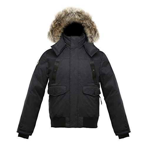 Coyote Fur Parka - Triple F.A.T. Goose SAGA Collection | Norden Mens Hooded Goose Down Jacket Parka with Real Coyote Fur (X-Large, Charcoal)