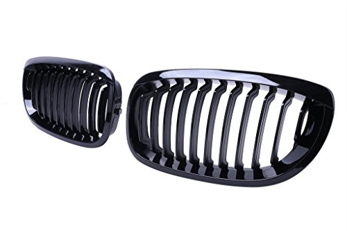 Price comparison product image DGI MART Pair of Kidney Front Grille Grill Hood Nose for BMW E46 2Dr Coupe 2004-2006 (Gloss Black)