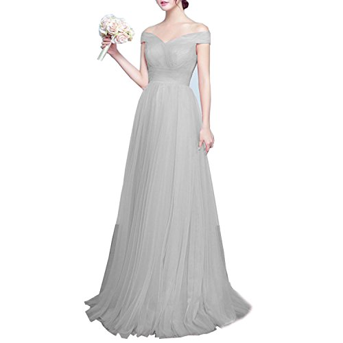 Beauty Bridal Tulle Prom Formal Evening Homecoming Dress Ball Gown (10,Light Grey)
