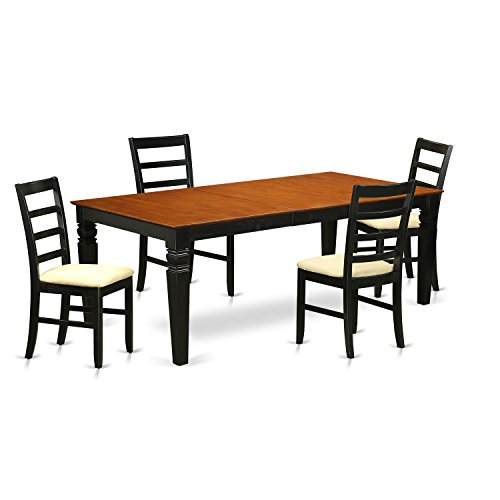 East West Furniture LGPF5-BCH-C 5 PC Dinette Table Set with One Logan Dining Table & 4 Dining Chairs in black & Cherry Finish