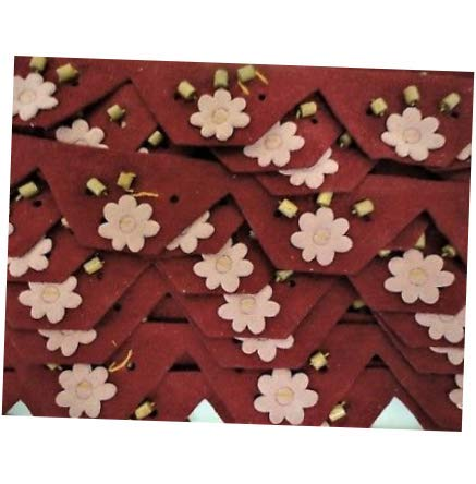 Bead Red Flower Faux Suede Floral, Sequin Trim with Beads 5yds Applique DIY Crafts