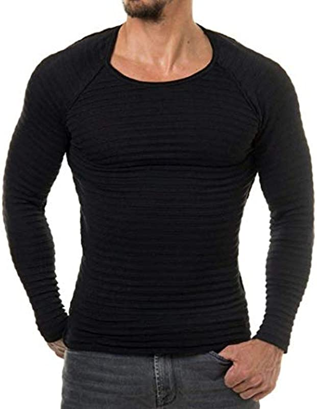 Męski sweter stylowy okrągły dekolt sportowy sweter z dzianiny Fashion prążkowany sweter paski bluza Slim Fit: Odzież
