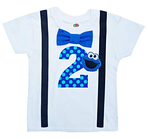 Perfect Pairz 2nd Birthday Shirt Boys Cookie Monster Tee (3T Long Sleeve) Blue-Black]()