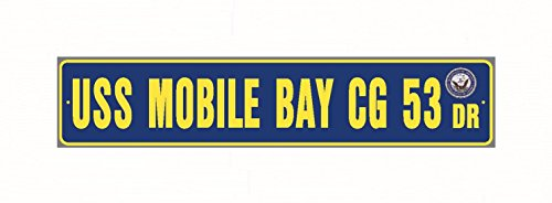 USS MOBILE BAY CG 53 Street Sign Aluminum Navy Blue / Yellow 6
