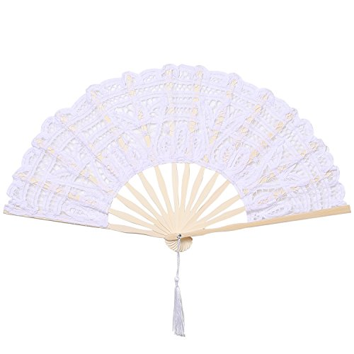 BABEYOND Cotton Lace Folding Handheld Fan Embroidered Bridal Hand Fan with Bamboo Staves for Wedding Decoration Dancing Party (White)