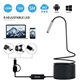 Endoscope USB, KinCam 3 in 1 Semi-Rigid USB Borescope 1200P HD with 5.5mm Waterproof Snake Camera with 6 Adjustable Led for Android Smart Phone, Tablet, PC & MacBook (5M / 16.5FT)