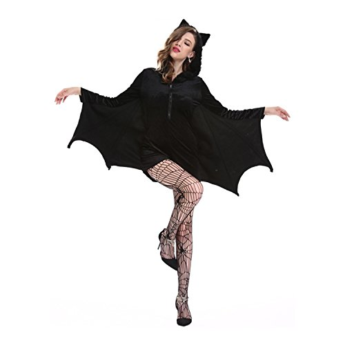 Halloween Women Coat Fun Cosplay Bat Dress Sexy Bat Costumes Suit Set (4X-Large)
