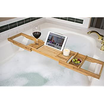Amazon.com: Luxurious Bamboo Bathtub Caddy -Adjustable Bath Tub Tray ...