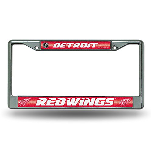 NHL Detroit Red Wings Bling Chrome License Plate Frame with Glitter Accent ()