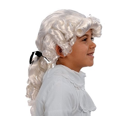 Kangaroo Child George Washington Wig, Kids Colonial Wig, White (Sons And Daughters Of Virginia Founding Fathers)