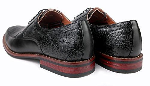 Ferro Aldo Män Klassiska Gator Oxfords Klä Snörning Skor W / Foder Av Läder Svart