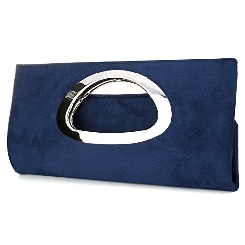 Prom Dark Clutch Cocktail Purse Suede Evening Blue Handbag Bag Handle Women Wedding Party 0nqT4HP