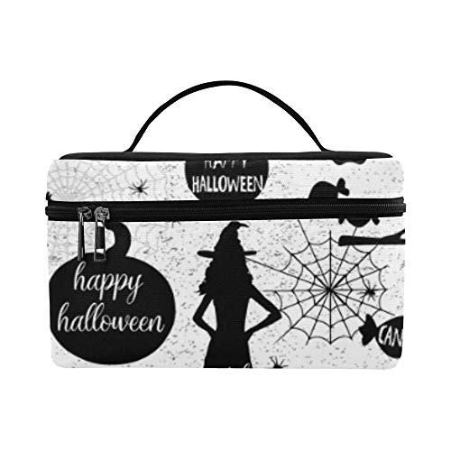 Halloween Silhouettes Witch Pumpkin Black Cat Lunch Box Tote Bag Lunch Holder Insulated Lunch Cooler Bag For Women/men/picnic/boating/beach/fishing/school/work ()