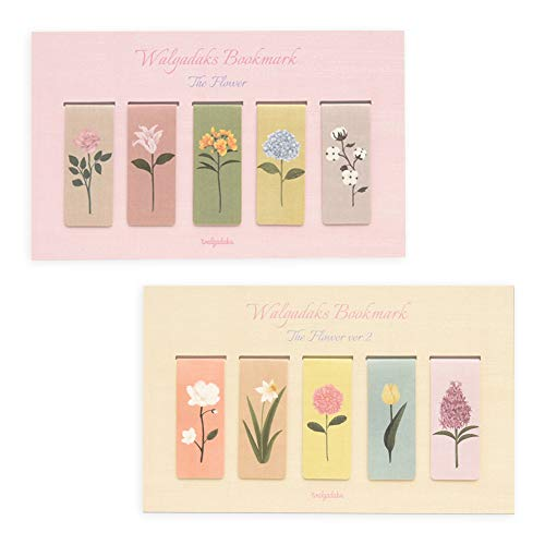 Monolike Magnetic Bookmarks The Flower VER.1 + VER.2, 10 Pieces (Bookmarks Flower Magnetic)