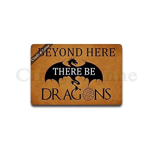 Cindy&Anne Beyond Here There Be Dragons Doormat Entrance Floor Mat Funny Doormat Door Mat Decorative Indoor Outdoor Doormat 23.6 by 15.7 Inch