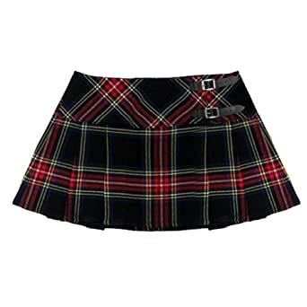Ladies' Black And Red Tartan 13 Inch Pleated Mini Skirt/ Micro Mini Kilt - US 26