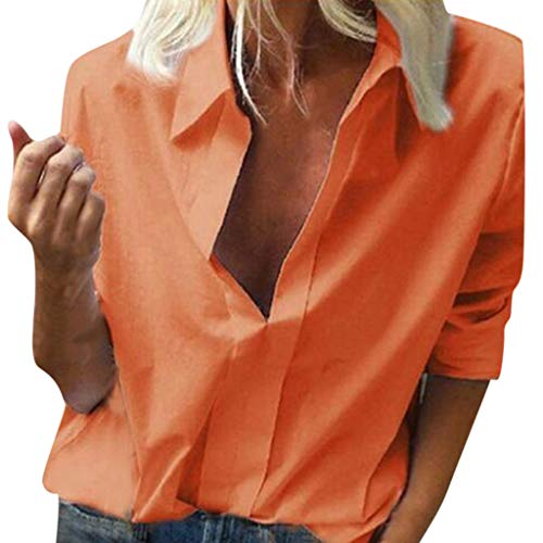Claystyle Women Fashion Casual Long Sleeved Loose Pure Color Deep V Neck Summer Shirts White L