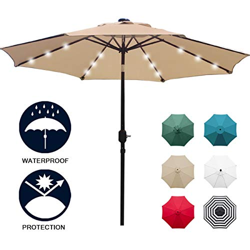 Sunnyglade 9' Solar 24 LED Lighted Patio Umbrella with 8 Ribs/Tilt Adjustment and Crank Lift System (Light Tan) (Deck Costco Umbrella)