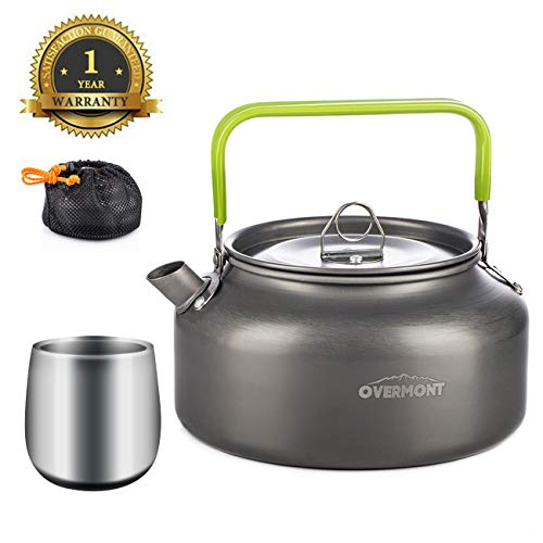 (Overmont Camping Kettle Camp Tea Kettle with Cup Camping Coffee Pot Aluminum Outdoor Hiking Kettle Pass FDA Test Camping Gear Portable Teapot Compact and)
