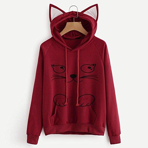 con Sudaderas manga Internet capucha Sudadera para con Blusa gato larga con de Sudadera de capucha mujer Rojo capucha IqOxqgP