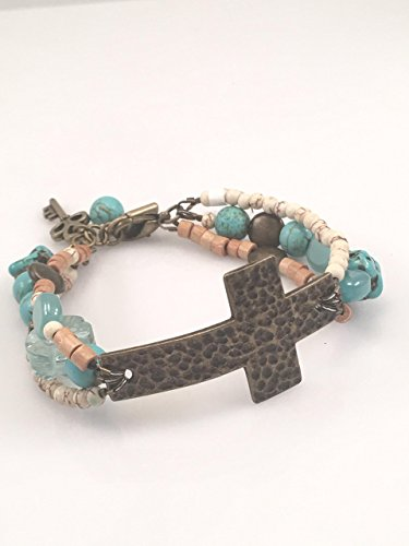 Antiqued Gold Cross with Aqua Beads Adjustable Bracelet - Antiqued Gold Bracelet