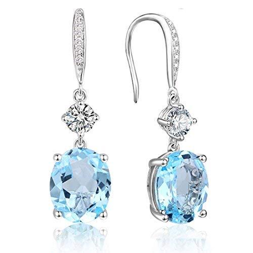 (Sterling Silver Sky Blue Topaz Dangle Earrings Oval Cut March Birthstone Earrings for Women 6.9CT)