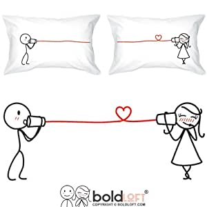 "BOLDLOFT® ""Say I Love You"" His & Hers Couples Pillowcases-Matching Couples Gifts,Valentines Day Gifts for Girlfriend Boyfriend,Cute Valentines Day Gifts for Her,Couples Gifts for Him & Her,Dating Anniversary Gifts for Her"